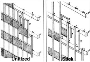 سیستم نصب استیک و یونیتایز در نمای کرتین وال